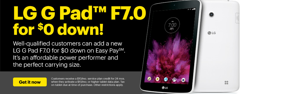 LG G Pad F7.0 for $0 down